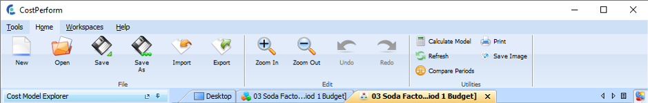 CostPerform Ribbon toolbar.